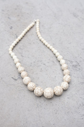 White Howlite Necklace 18""