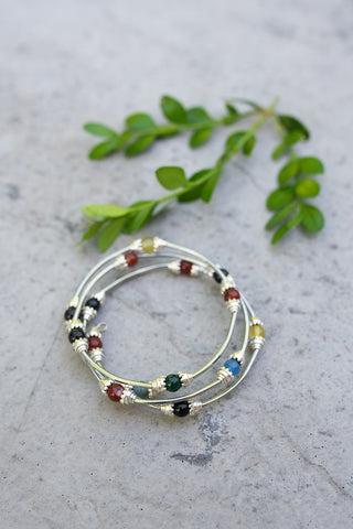 Multi Color Bead Wire Bracelet