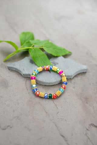 Multi-Color Crystal Bead Bracelet