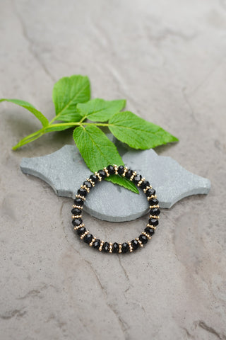 Black Crystal Bead Bracelet