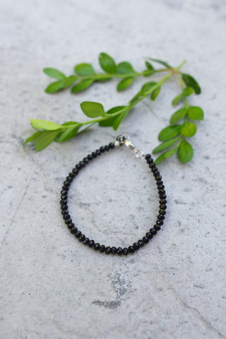 Small Black Crystal Bead & Wire