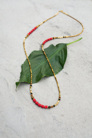 Iron Rose Red & Gold Necklace