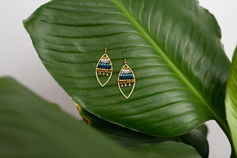 Jewelled Leaf - Blue Earrings