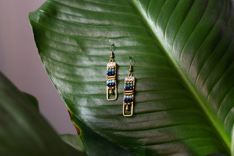 Blue Ladder Earrings