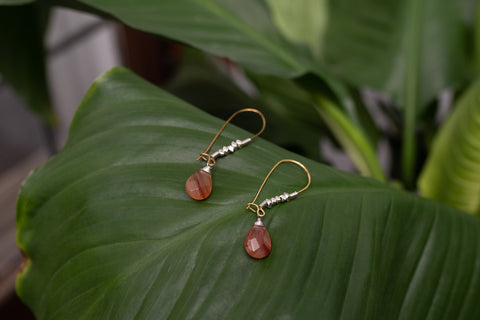 Red Agate Droplet Earrings