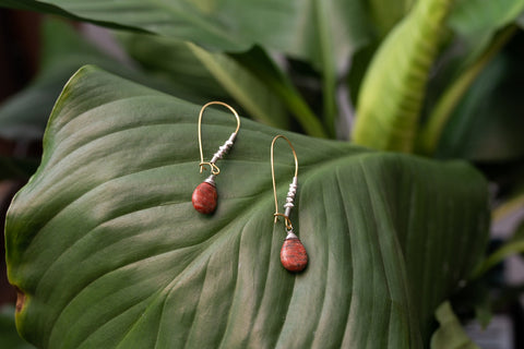 Brecciated Stone Droplet Earrings