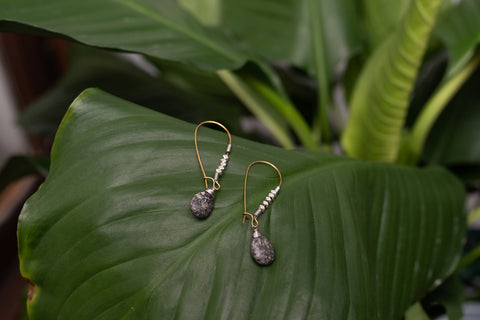 Black Dot Droplet Earrings