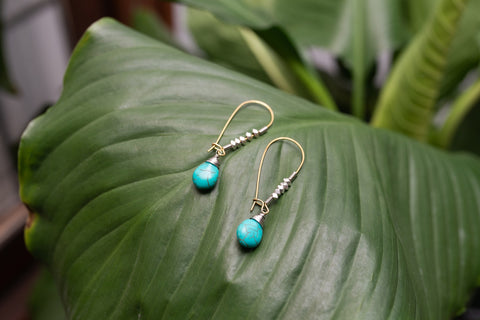 Blue Howlite Droplet Earrings