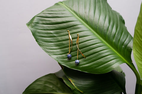 Navy Soda Light Ribbon Earring