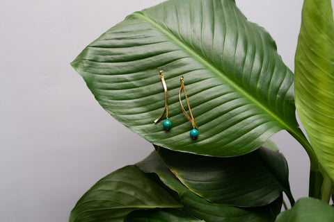 Malachite Ribbon Earrings