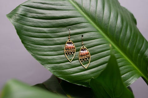 Jewelled Leaf Earrings - Brown