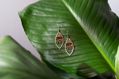 Jewelled Leaf Earrings - Bronze