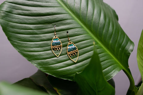 Jewelled Leaf Earrings - Green