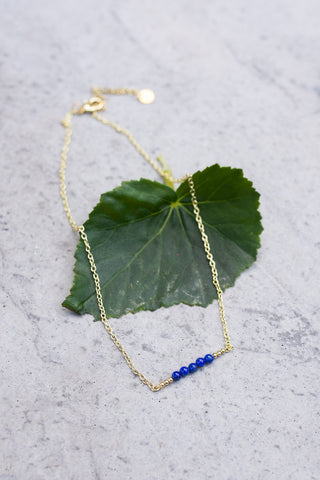 Lapis & Gold Bead Bar Necklace