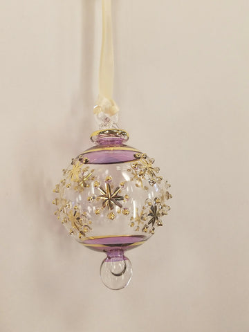 Snowflake Ball Ornament Purple