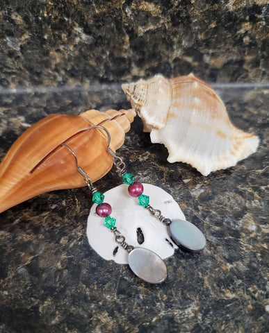 Mother-of-Pearl, Pearl and Swarovski Earrings