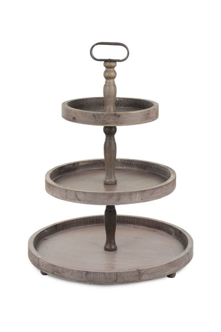 wooden 3 tier display tray serving stand rustic recycled wood anthropologie grandin road sundance vagabond vintage