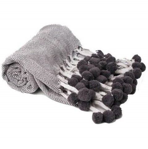 herringbone throw pompom karma living