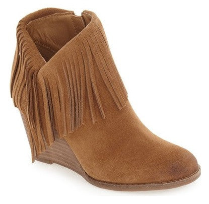 lucky brand yachin suede bootie wedge