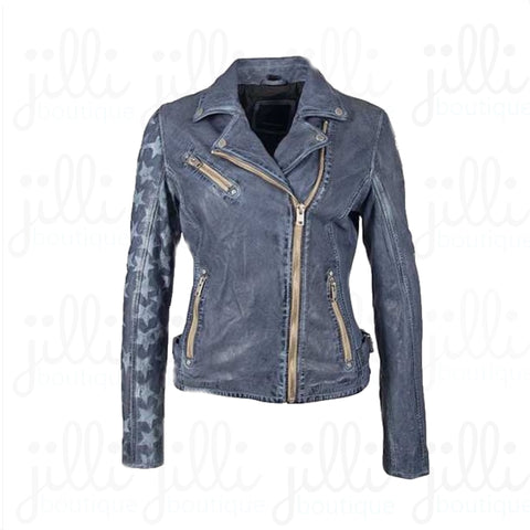 leather jacket von maur blue
