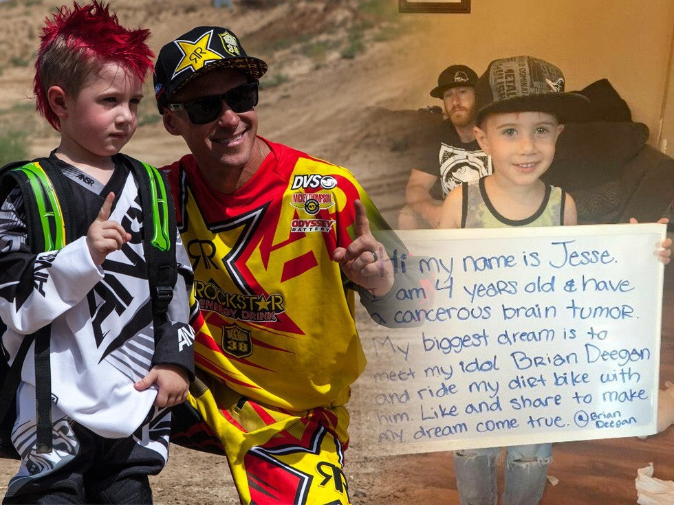 Helmets off to the king of Motocross & Metal Mulisha for taking the time to make Jesse Fischer's day, a boy who was diagnosed with a cancerous brain tumor