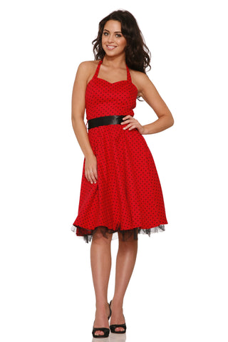 H&R Small Dot Halter Dresses:0211 Hearts and Roses London retro dress Red/Black
