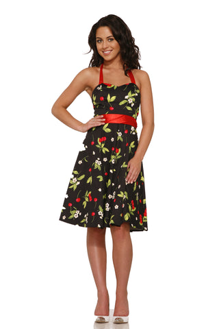 H&R Women's Cherry Halter Hearts and Roses London retro Dress Black/Red - Left Coast Threads