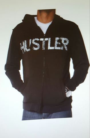 Hustler Men's Distressed Black Hoodie MO1025