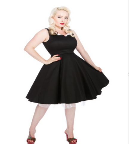 H&R Scallop Dress 9358 Hearts and Roses London retro dress Black