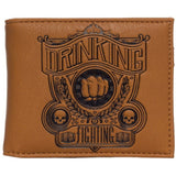 Sourpuss Drinking & Fighting Embossed Mens Brown Billfold Wallet with ID and Card Slots SPWA9