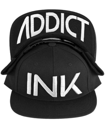 Ink Addict Men's INK Snapback Hat 1_U_BK51_WH Black