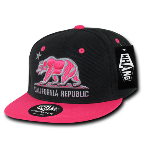 Decky Cali Rep Embroidered Snapback Hat Black/Pink - Left Coast Threads