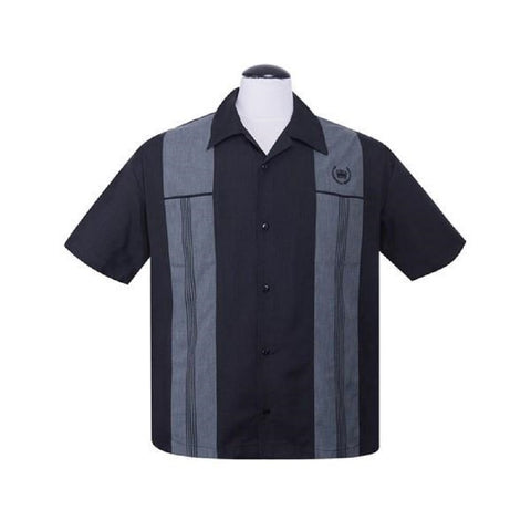 Steady Clothing Men's Snake Stitch Panel Black & Grey Button Up Shirt ST35307 - Left Coast Threads