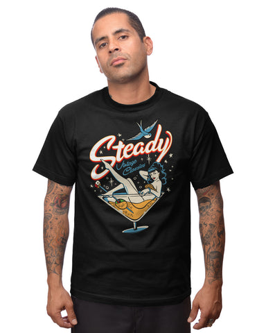 Steady Clothing Vintage Martini Mens Black Tee Shirt RS10288 Rockabilly - Left Coast Threads