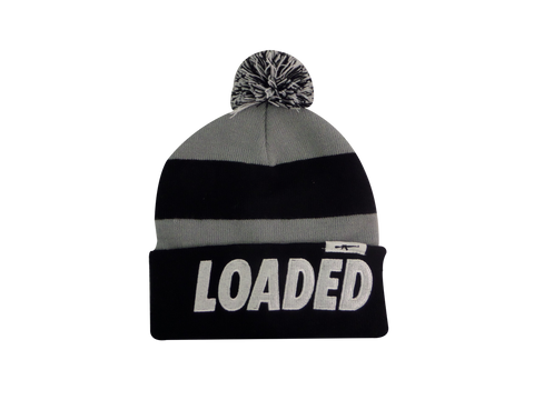 Mafioso Loaded Beanie with Pom Pom - Grey/Black