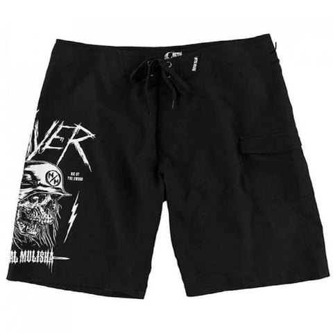 Metal Mulisha Men's Sword Boardshorts Black & White Slayer Logo SU7506006 - Left Coast Threads