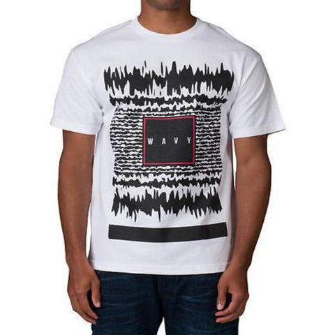Wavy Static Mens Black Tee Shirt Oversized front screen print t-shirt