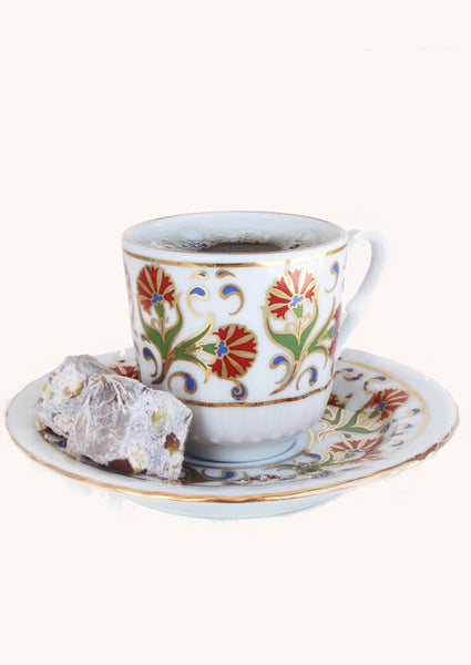Turkish Coffee Cups with Saucers - Flower Design - Set of 2