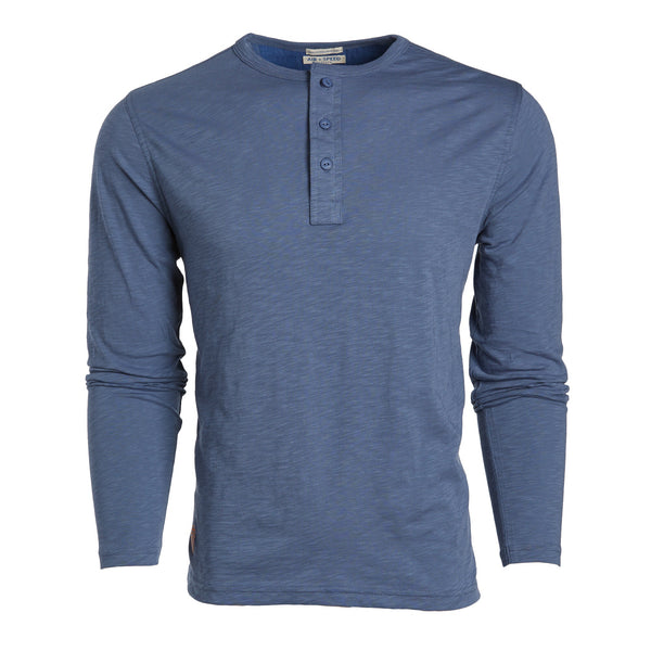 BREEZE LONG SLEEVE HENLEY - Blue Shark