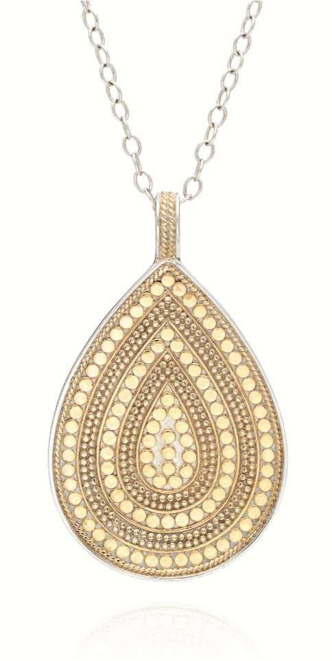 Beaded Teardrop Pendant Necklace