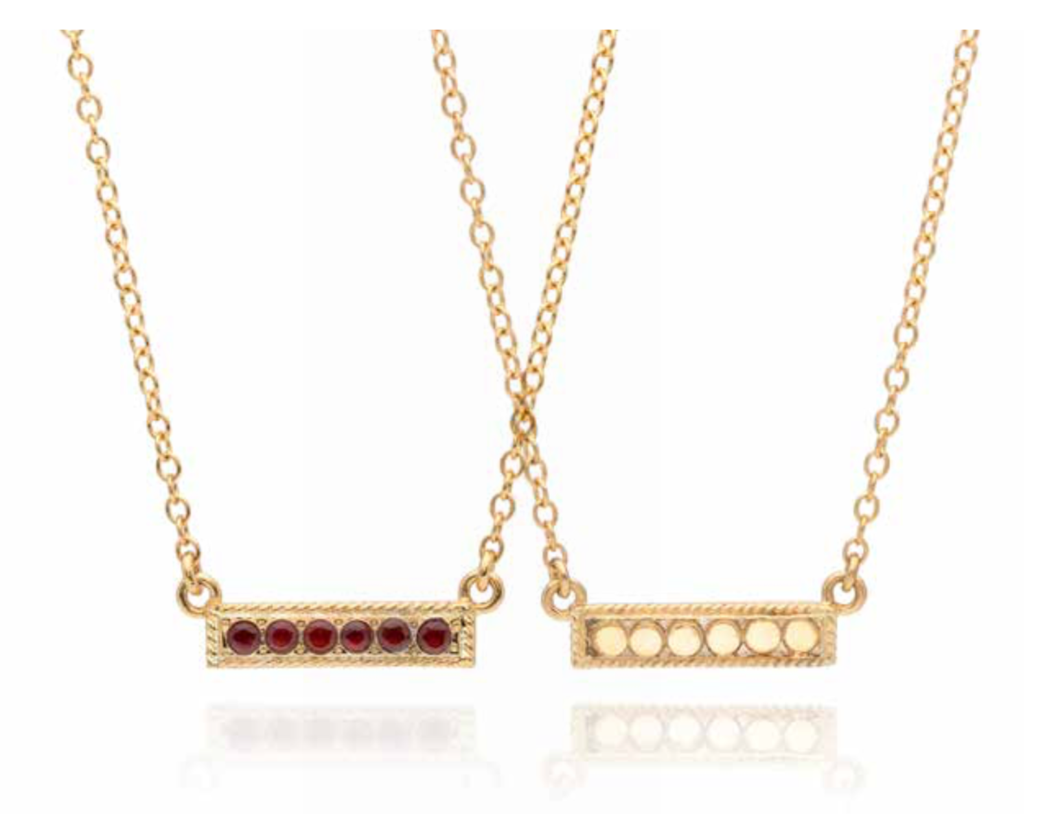 Garnet Reversible Pavé Stacking Necklace