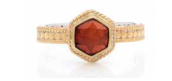 Garnet Geo Single Stone Stacking Ring