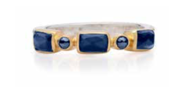 Blue Sapphire Mosaic Stacking Ring