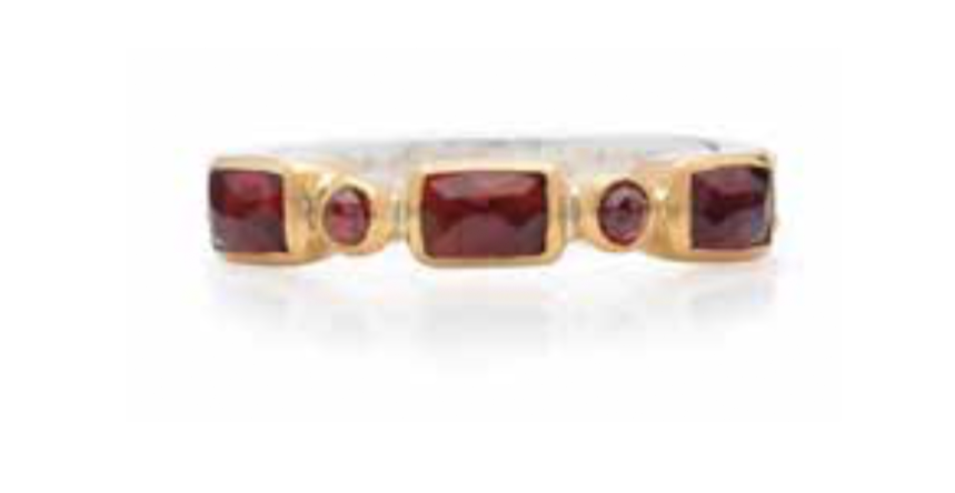 Garnet Mosaic Stacking Ring