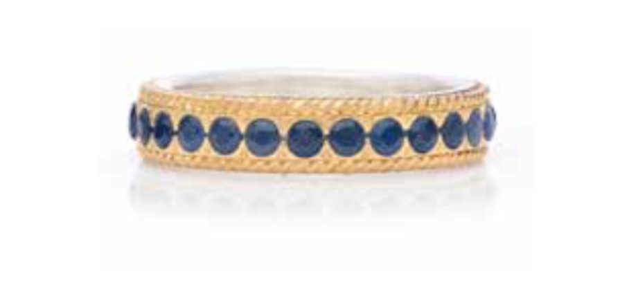 Blue Sapphire Pavé Stacking Ring