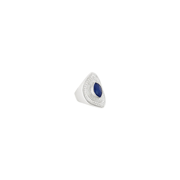 Lapis Marquise Shield Ring - Silver