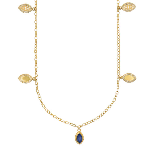 Lapis Marquise Reversible Charm Necklace - Gold