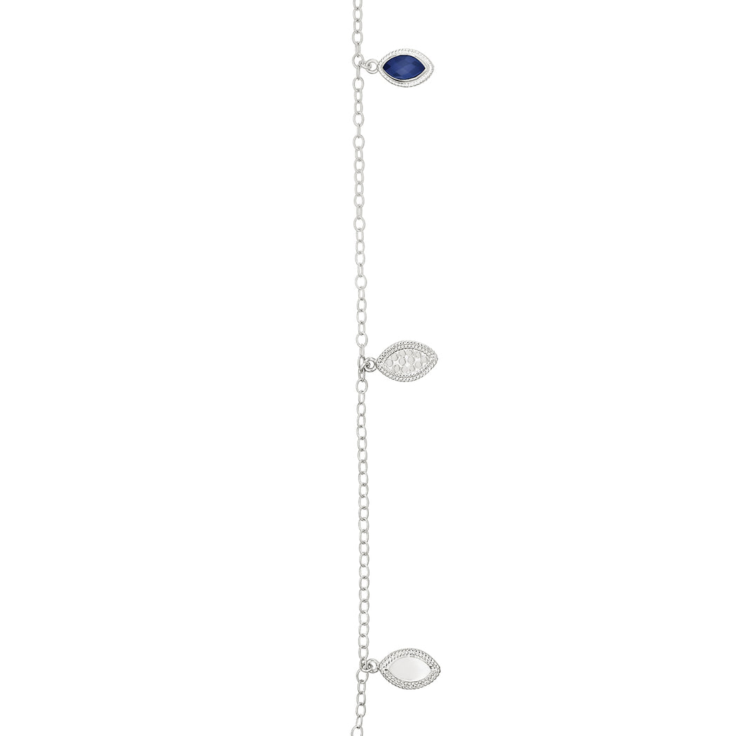 Lapis Marquise Reversible Charm Necklace - Silver