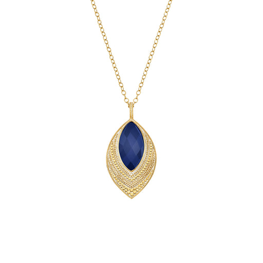 Lapis Marquise Pendant Necklace - Gold