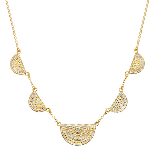 Half Moon Divided Station Necklace - Gold